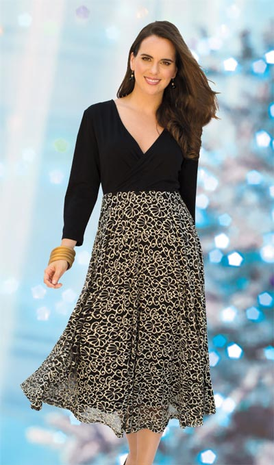 Festive Black & Gold Lace Dress