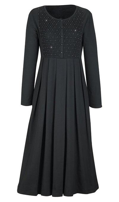 Smocked Beaded Easy Dress - Black