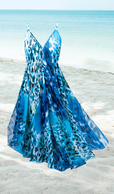 Ocean Blue Printed Maxi Dress