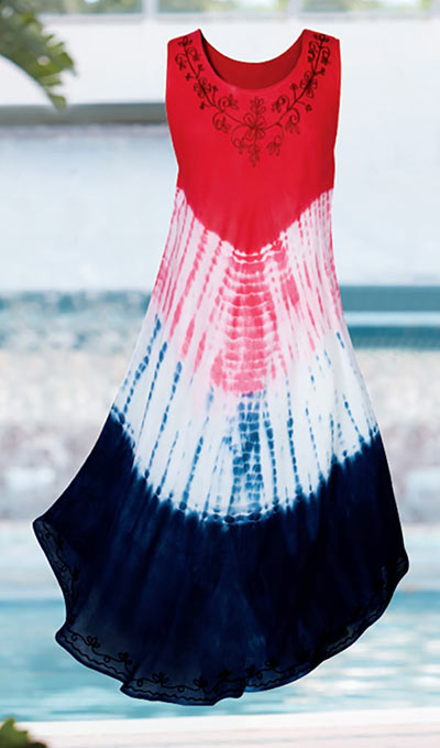 Patriotic Tie-Dyed Swing Dress
