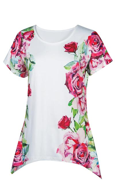 Red Roses Watercolor Top