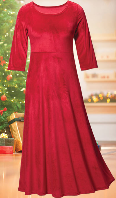 Luxurious Stretch Velvet Maxi Dress - Ruby