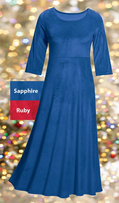 Luxurious Stretch Velvet Maxi Dress  - Sapphire