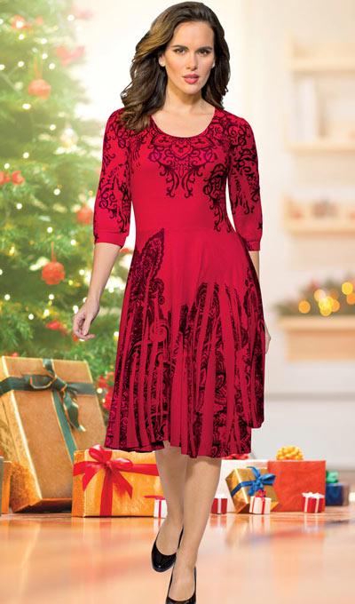 Festive Print Sweater Dress