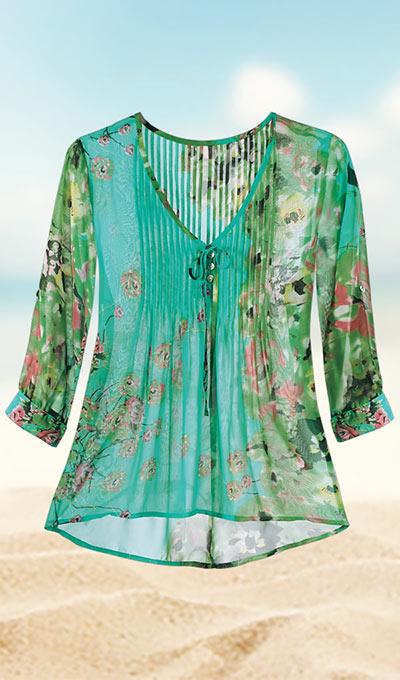 Floral Watercolor Chiffon Top