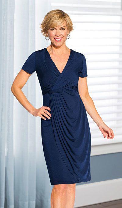 Delightful Faux Wrap Dress - Navy