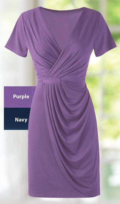 Delightful Faux Wrap Dress - Purple