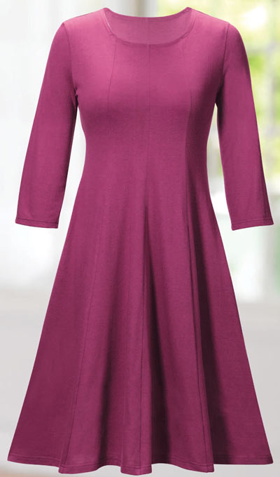 Paneled Knit Swing Dress