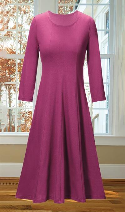 Paneled Knit Swing Dress