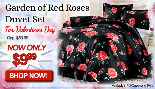 Garden of Red Roses Duvet Set