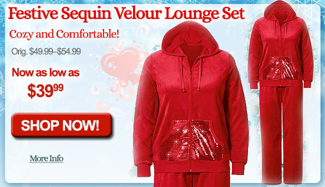 Festive Sequin Velour Lounge Set