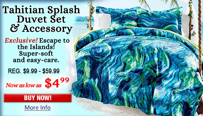 Tahitian Splash Duvet Set & Accessory