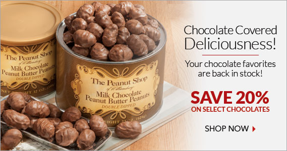 Select Chocolate Items 20% Off - The Peanut Shop of Williamsburg