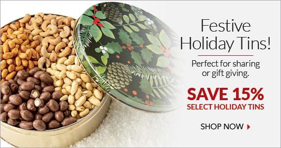 Christmas Holly Tin- The Peanut Shop of Williamsburg