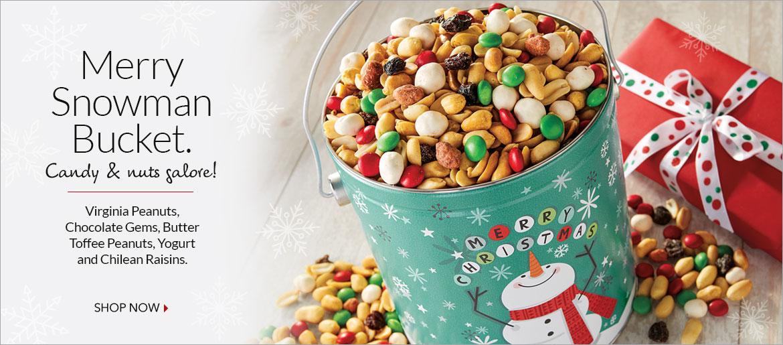 Merry Snowman Bucket - The Peanut Shop of Williamsburg