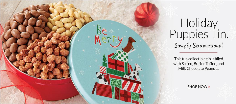 Holiday Puppies Tin  - The Peanut Shop of Williamsburg