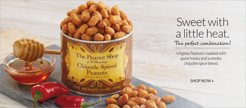 Honey Roasted Chipotle Spiced Peanuts - The Peanut Shop of Williamsburg