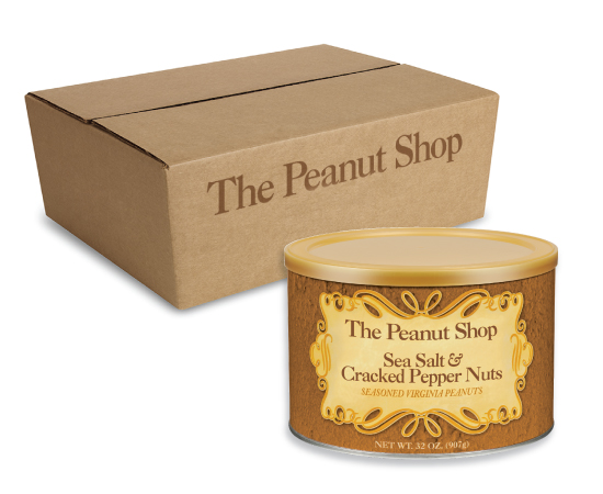 Sea Salt & Cracked Pepper Peanuts Six 32 oz.