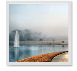 What causes fog to form on the pond during the fall?