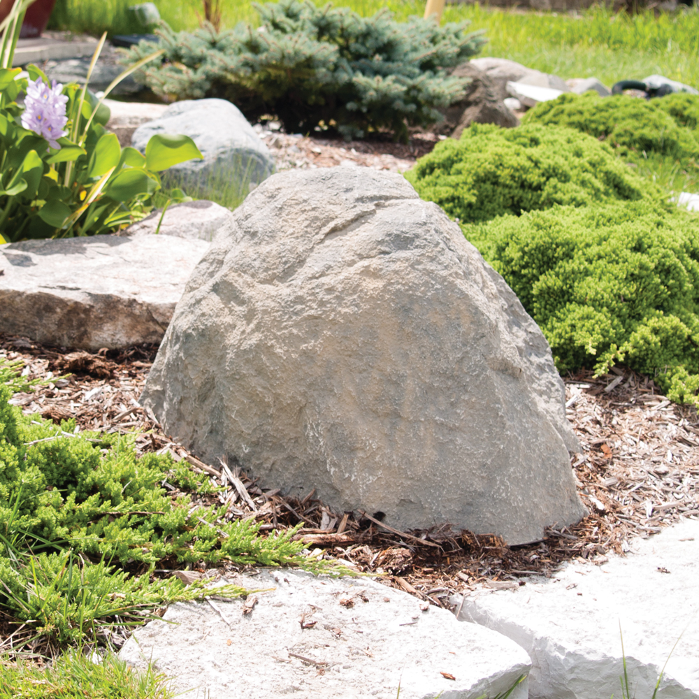 Pond filter cover decorative rock cover the pond guy for Fish pond rocks