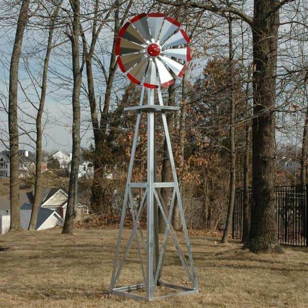 8' Decorative Galvanized Backyard Windmills