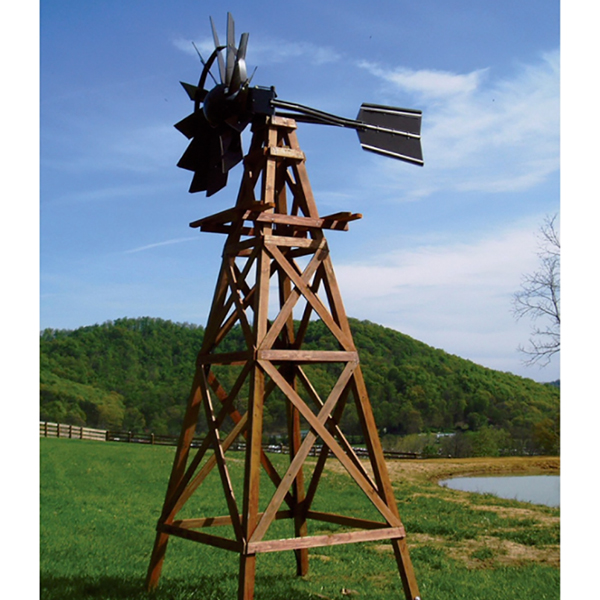 16' Ornamental Wooden Windmill w/Galvanized Head, No Aeration