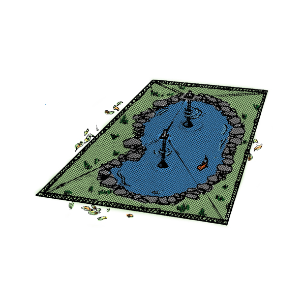 Pond net covers pond protectors the pond guy for Decorative fish pond covers