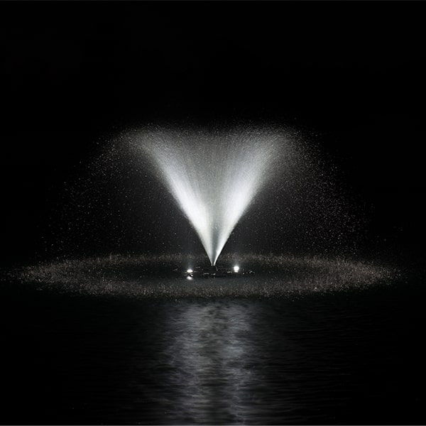 AquaStream Combo 1/2 HP Fountain & White LED Light Set 2 to 8 Lights