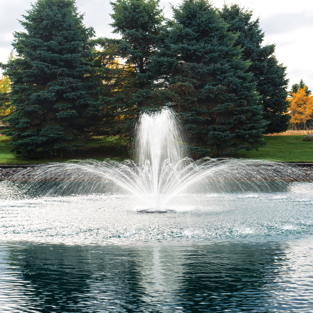 Pond water fountains pond fountain aerator the pond guy Pond with fountain