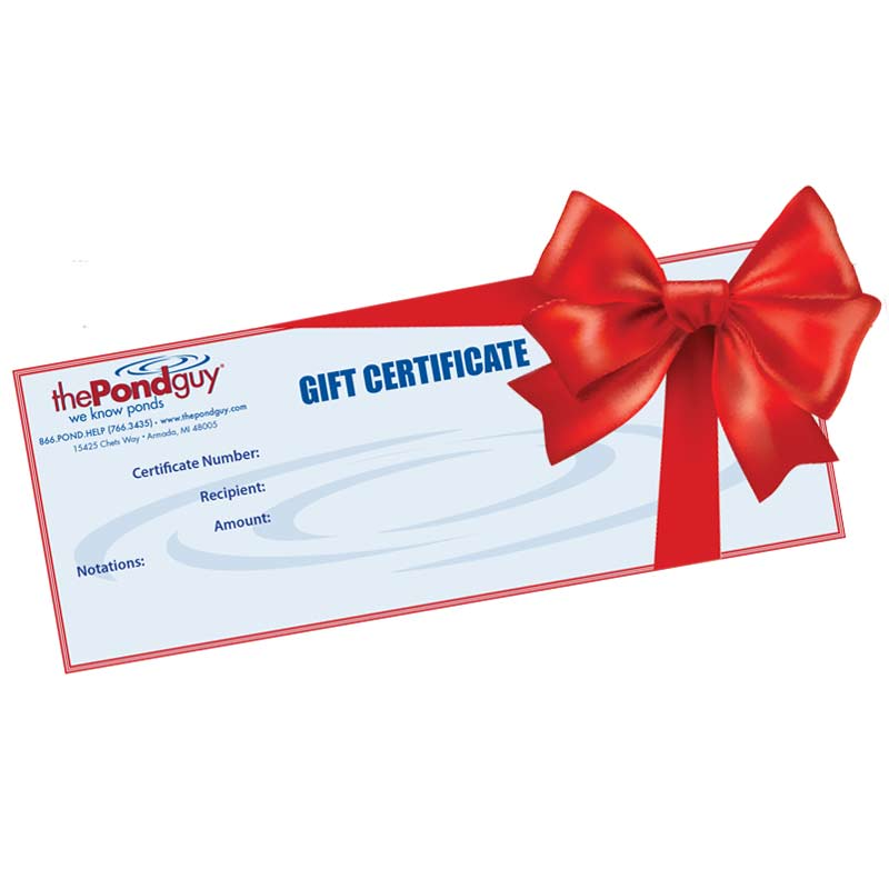 the pond guy gift certificate gift certificates the pond guy