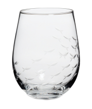 Hand-cut Fish Glassware Stemless Goblet Set Of 4