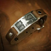 Bracelet // Leather Cuff With Sterling Silver Badge