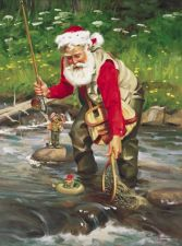 Fly Fishing Santa Prints