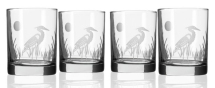 Hand Etched Heron Glassware 14oz Double Old Fashioned