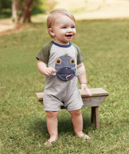 Open Mouth Fish Raglan Shortall
