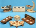 Wooden Candleholders Pattern Set #3