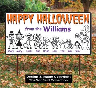 Stick Family Halloween Sign Pattern