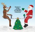 Teetering Santa and Reindeer Pattern