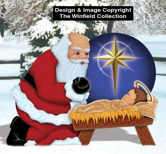 santa with baby jesus wood pattern - Jesus Santa