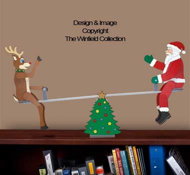 Tabletop Teetering Santa & Reindeer Pattern