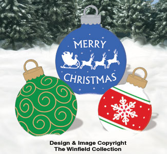 Holiday signs giant ornaments 4 woodcraft pattern for Christmas yard signs patterns