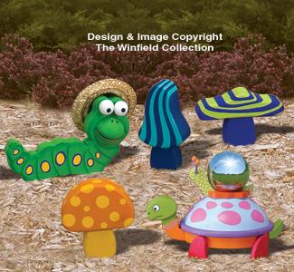 yard art woodcraft plans  whimsical garden decor pattern set, Garden idea