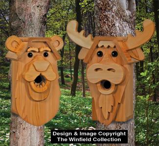 Birdhouse Wood Patterns Cedar Bear Amp Moose Birdhouse Plans