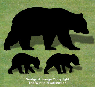Animals Bear Family Shadow Wood Pattern