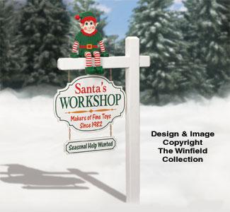 Santa's Workshop Sign & Elf Pattern