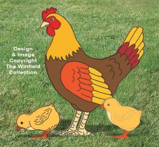 Large Yard Hen & Chicks Pattern