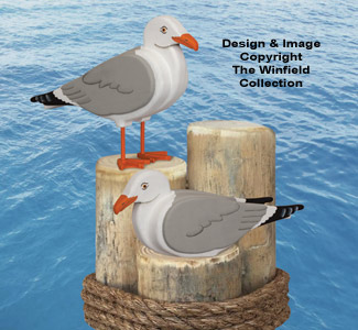 3D Life-Size Seagulls Wood Pattern