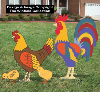 Giant Rooster, Hen & Chicks Pattern Set