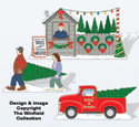 Christmas Village Tree Lot Color Poster
