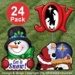Christmas Plastic Yard Art 24 Pack